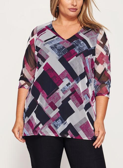 Illusion Sleeve V-Neck Top , Multi, hi-res