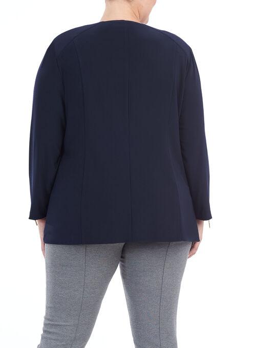 Asymmetric Zipper Trim Jacket, Blue, hi-res