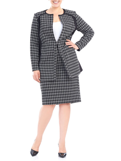Long Ponte Houndstooth Blazer, Black, hi-res