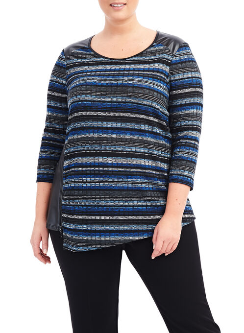Variegated Stripe Top, Blue, hi-res