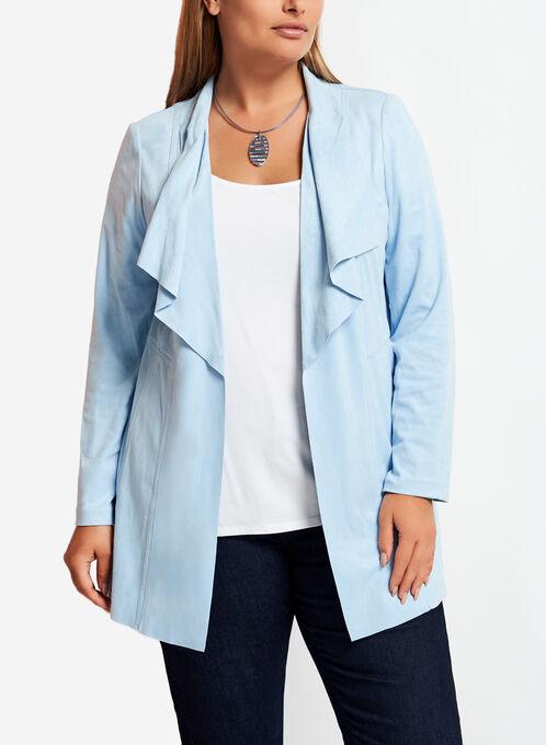 Faux Suede Cascade Front Jacket , Blue, hi-res
