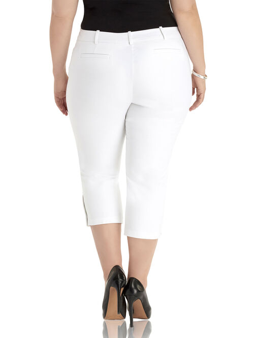Button Trim Capri Pants, White, hi-res