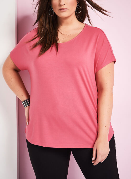 Boat Neck T-Shirt, Pink, hi-res
