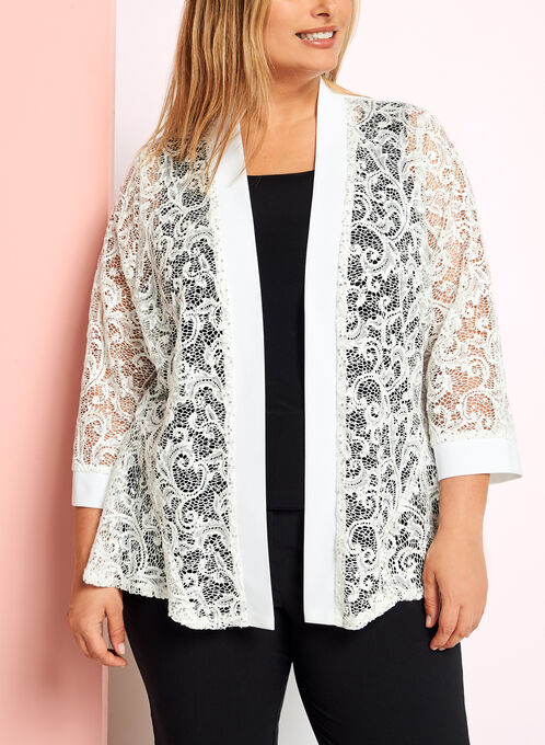 Jersey & Sequin Lace Bolero, Off White, hi-res