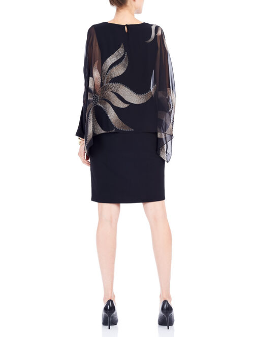 Printed Chiffon Popover Dress, Black, hi-res