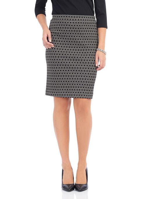 Geo Print Knit Knee-Length Skirt , Black, hi-res