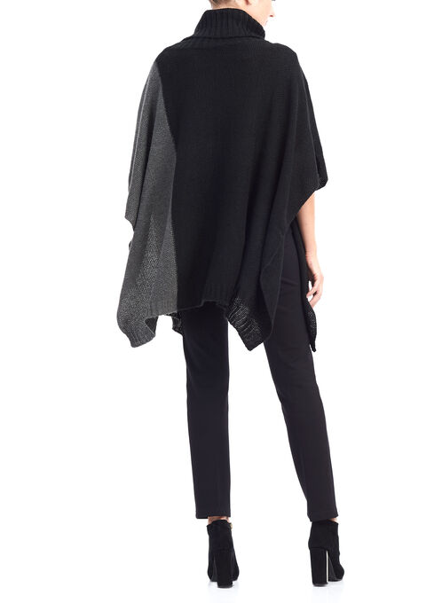 Knit Cowl Neck Poncho, Black, hi-res