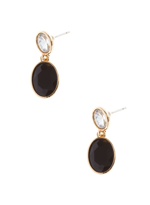 Crystal Stone Dangle Earrings, Black, hi-res