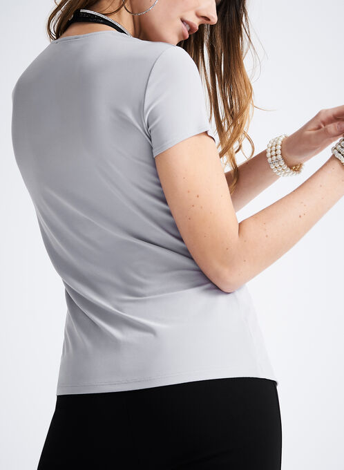 Short Sleeve Pleat Detail Top, Off White, hi-res