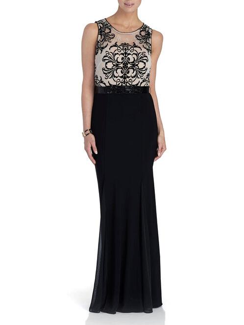 Sleeveless Belted Lace Dress, Black, hi-res