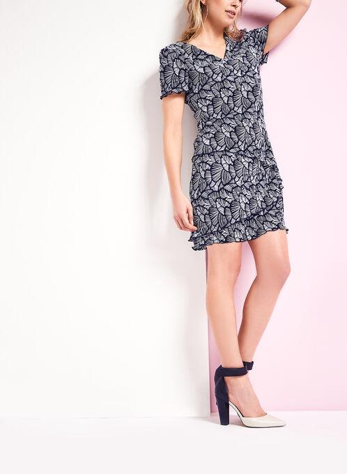 Tiered Plissé Print Dress, Blue, hi-res
