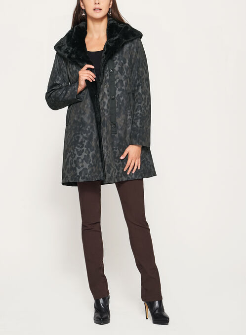 Novelti - Camo Print Faux Fur Trim Coat, Grey, hi-res