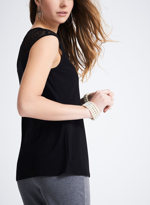 Dot Print Mesh Yoke Top, Black, hi-res