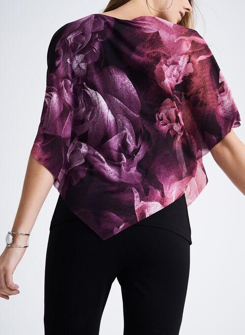 3/4 Sleeve Floral Print Top, Red, hi-res