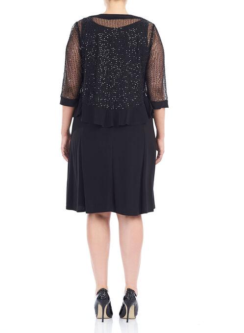 Sequined A-Line Dress with Jacket, Black, hi-res
