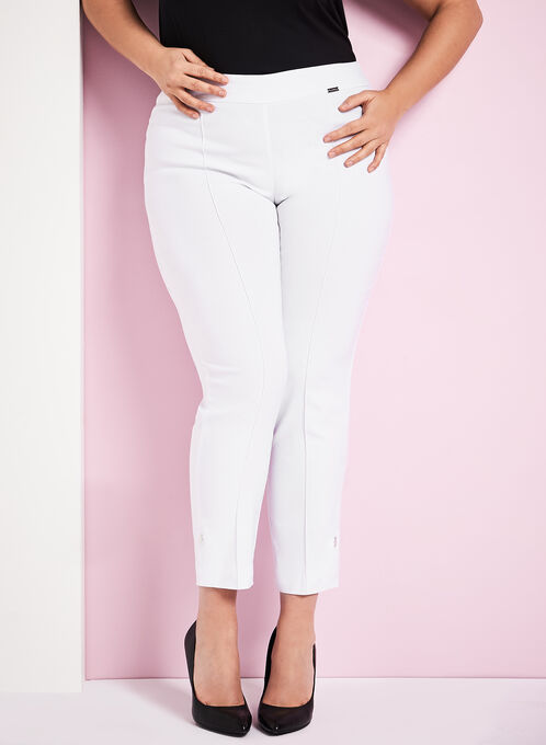 7/8 Bengaline Slim Leg Pants, White, hi-res