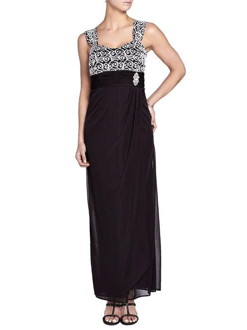 Chiffon & Sequined Dress with Bolero, Black, hi-res