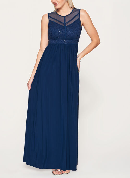 Sequin Lace Mesh Dress, Blue, hi-res