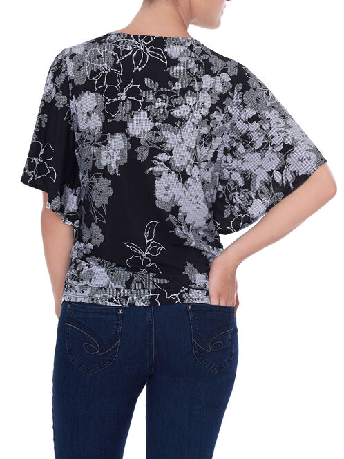 Wing Sleeve Floral Print Top , Black, hi-res