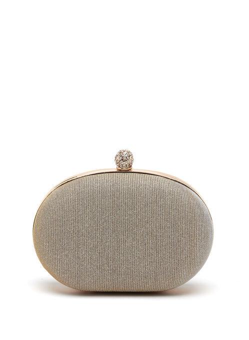 Crystal Embellished Oval Box Clutch, Gold, hi-res