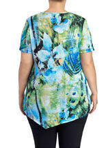 V-Neck Floral Print Knit Top, Blue, hi-res
