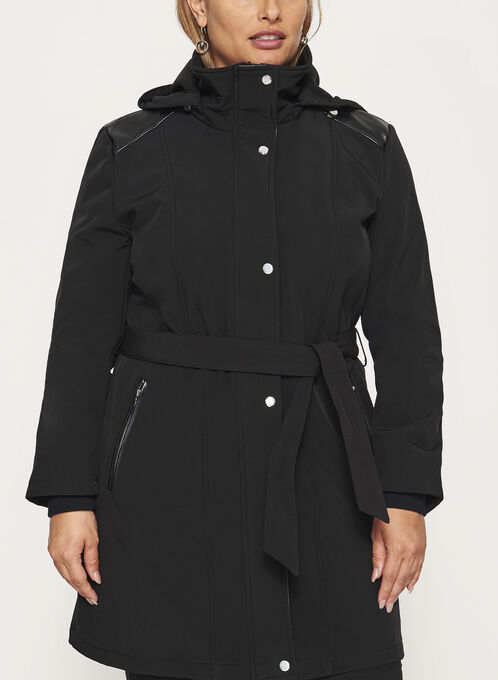 Hooded Softshell Coat, Black, hi-res