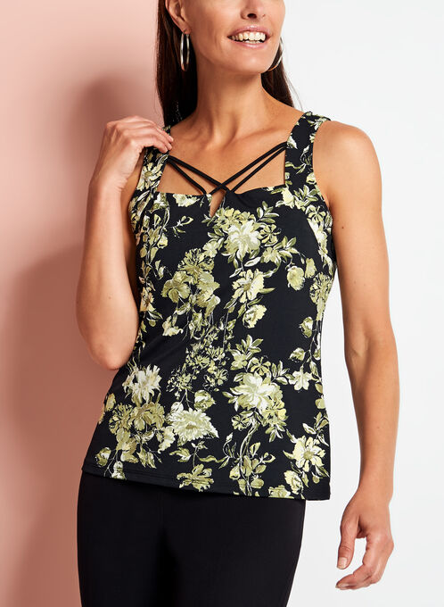 Floral Print Lace Effect Top, Black, hi-res