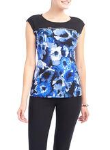 Zip Detail Floral Print Top, Blue, hi-res