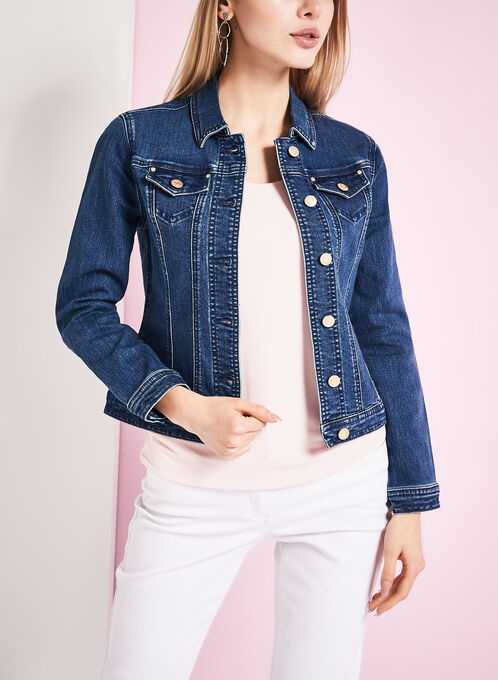 Solid Denim Jacket, Blue, hi-res