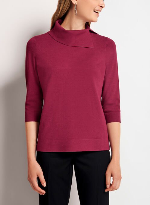 Split Funnel Neck Cropped Sweater, Red, hi-res