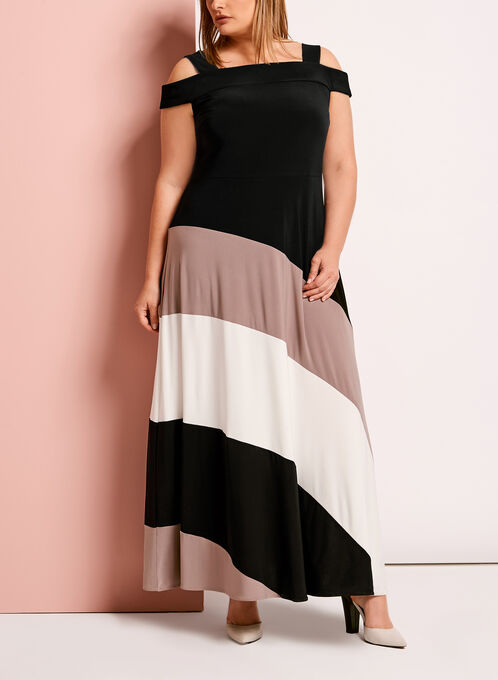Colour Block Cold Shoulder Dress, Black, hi-res