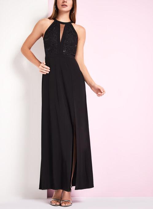 Mesh Insert Sequin Lace Dress, Black, hi-res