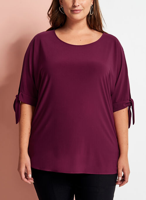 3/4 Sleeve Cutout Top, Red, hi-res