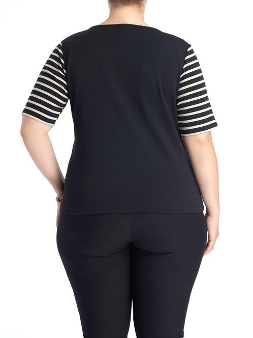 Elbow Sleeve Stripe Print Top, Black, hi-res