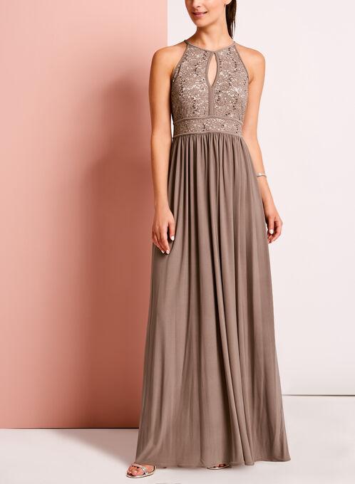 Glitter Lace Keyhole Dress, Brown, hi-res