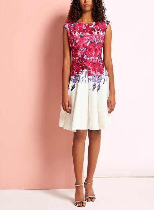 Floral Print Fit & Flare Scuba Dress, Red, hi-res