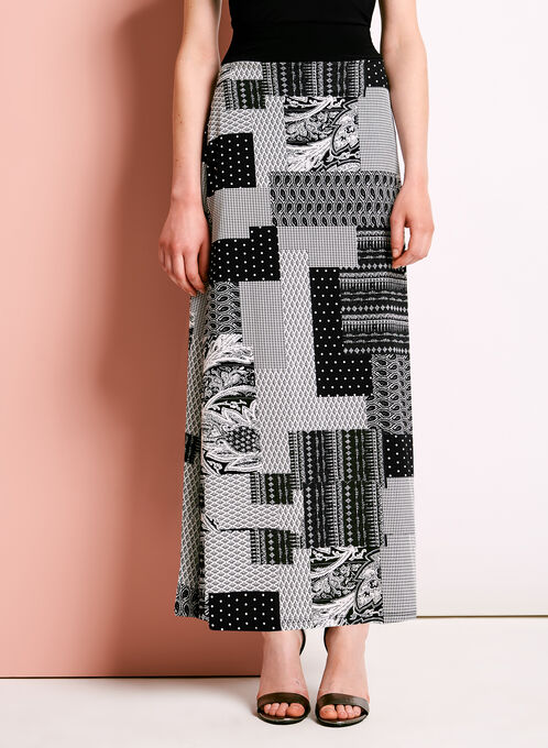 Patchwork Print Maxi Skirt, Black, hi-res