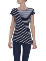 Short Sleeve Printed Asymmetric Top, Blue, hi-res