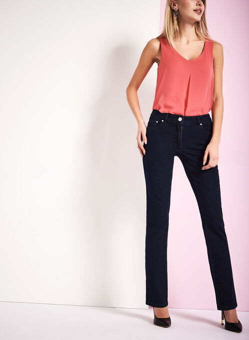 Tummy Control Straight Leg Jeans, Blue, hi-res