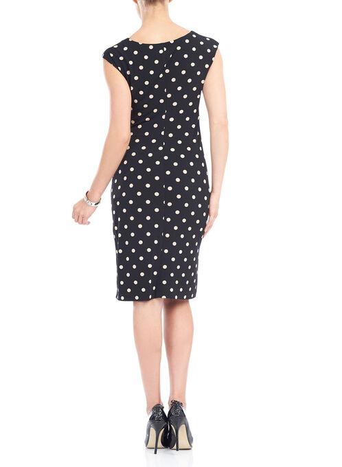 Sleeveless Cowl Neck Polka Dot Print Dress , Black, hi-res