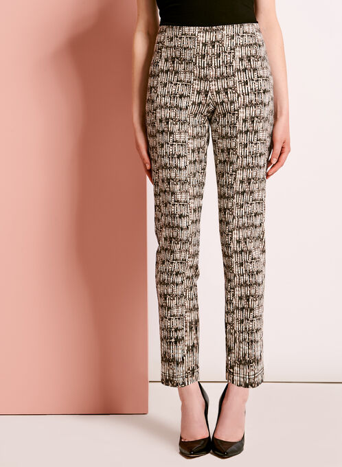 Abstract Print 7/8 Pants, Green, hi-res