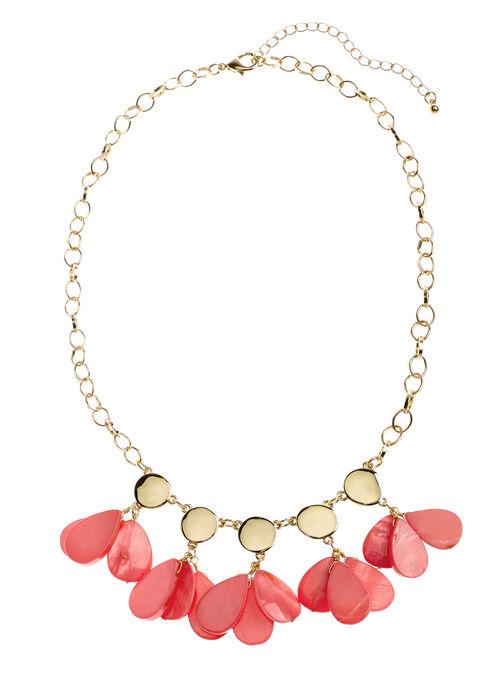 Teardrop Shell Dangle Necklace, Orange, hi-res
