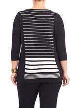 3/4 Sleeve Variegated Striped Top, Black, hi-res