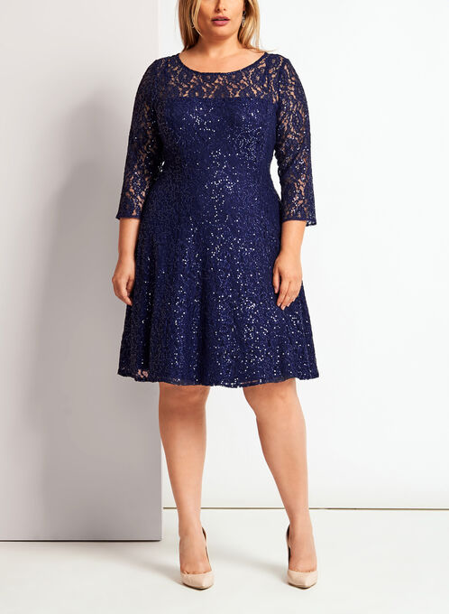 Sequined Lace Fit & Flare Dress , Blue, hi-res