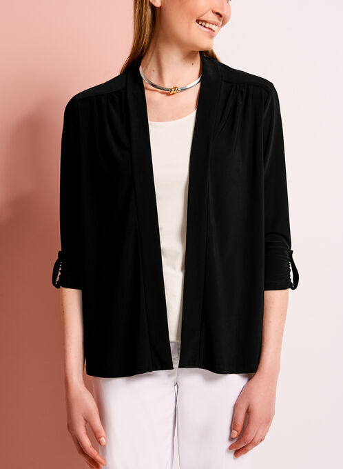 3/4 Sleeve Jersey Cardigan, Black, hi-res