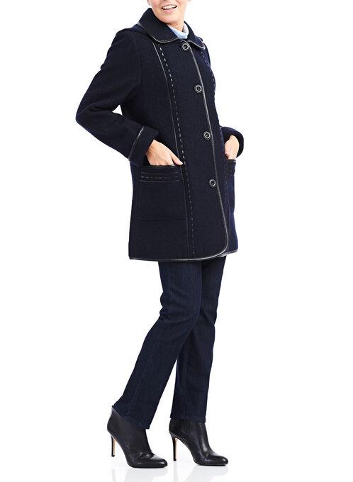 Wool Blend & Faux Leather Coat , Purple, hi-res