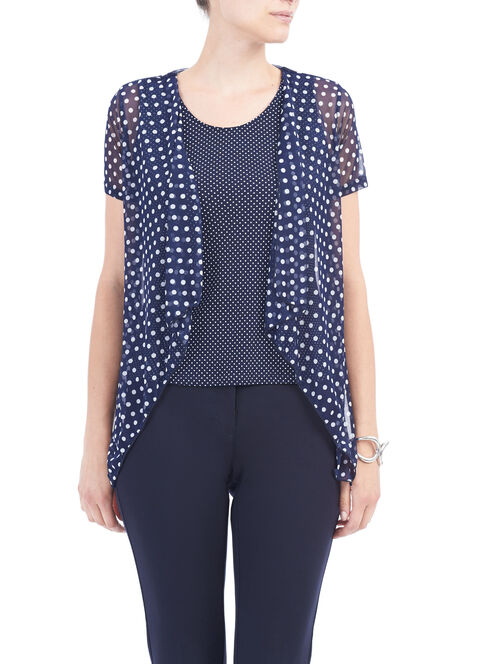 Sleeveless Printed Fooler Top, Blue, hi-res