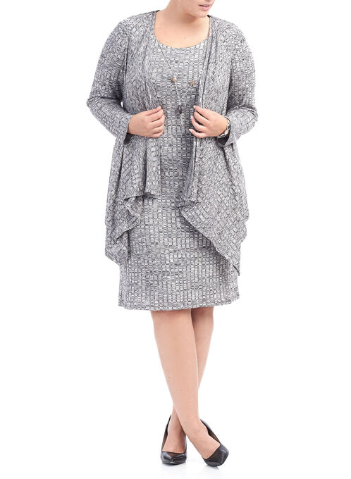 Two Piece Knit Dress with Necklace, Grey, hi-res
