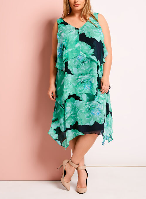 Tiered Floral Print Chiffon Dress, Blue, hi-res