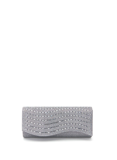 Glitter & Crystal Embellished Clutch, Grey, hi-res